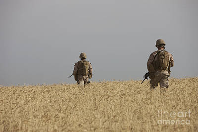 Chris Walter Rock N Roll - U.s. Marines Patrol A Wadi Near Kunduz by Terry Moore