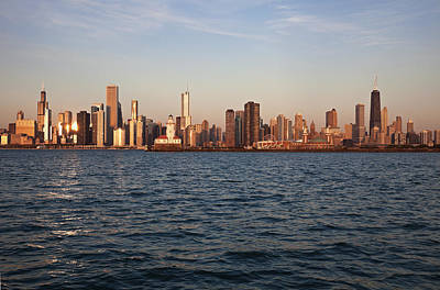 Usa, Illinois, Chicago, City Skyline Over Lake Michigan Art Print by Henryk Sadura