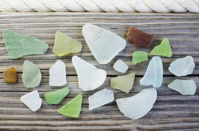 Usa, New York State, New York City, Brooklyn, Collection Of Sea Glass Art Print by Jamie Grill