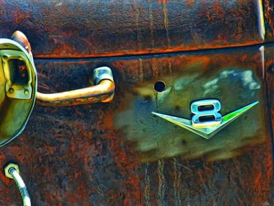 Rusted Cars Mixed Media - V8 by Adam Vance