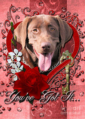 Chocolate Labrador Retriever Digital Art - Valentines - Key To My Heart Labrador by Renae Laughner