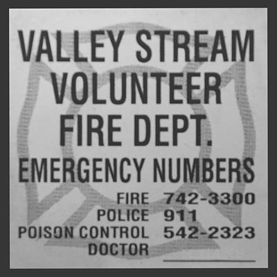 Valley Stream Fire Department In Black And White Print by Rob Hans