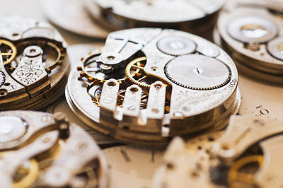 Watch Parts Photograph - Variety Of Watches Striped To Parts by Tetra Images