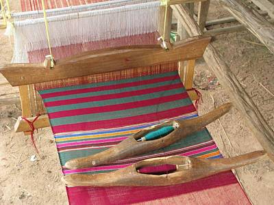 Various Threads On Weaving Loom Art Print