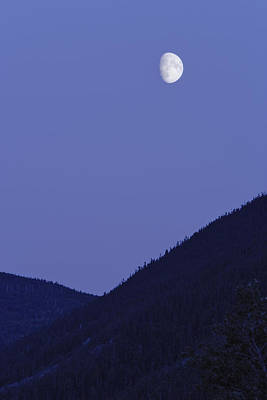 View Of Moon And Mountains, Gaspesie Art Print by Yves Marcoux