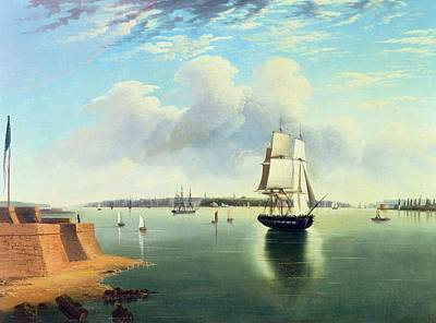Liberty Painting - View Of New York From Bedloes Island by Joseph B Pringle
