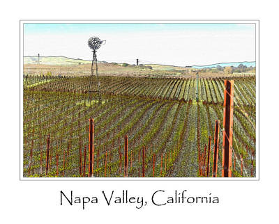 Wine Country Digital Art - Vineyard With Windmill And Blue Sky by Brandon Bourdages