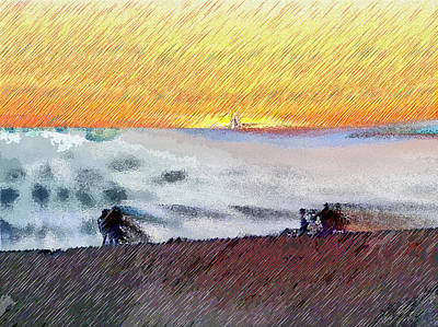 Walk On The Beach Art Print by Ruth Edward Anderson