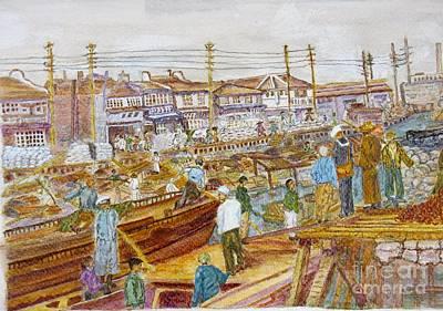 Black Commerce Painting - Wangpoo River Shanghai 1931 by Cheryl Carrabba