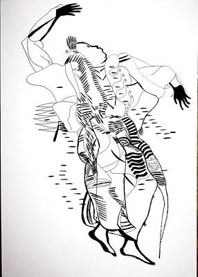 Drawing - Warba Dance - Burkino Faso by Gloria Ssali