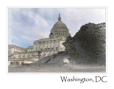 Digital Art - Washington Dc Capitol Hill Building by Brandon Bourdages