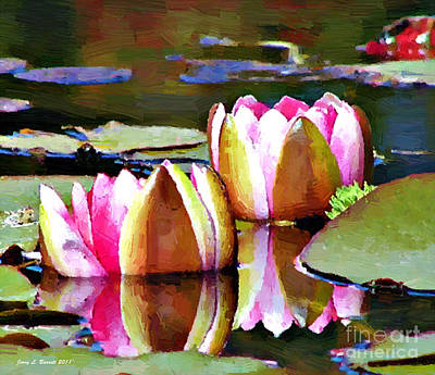 Mixed Media - Water Lillies by Jerry L Barrett