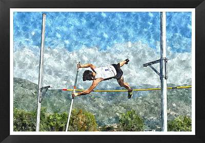 Watercolor Design Of Pole Vault Jump Art Print by John Vito Figorito