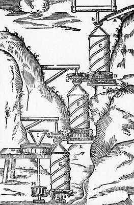 Watermill, Reversed Archimedean Screw Art Print by Science Source