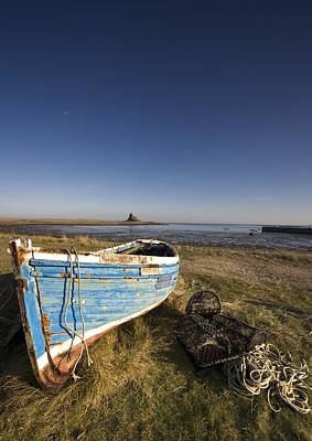 Weathered Fishing Boat On Shore, Holy Art Print