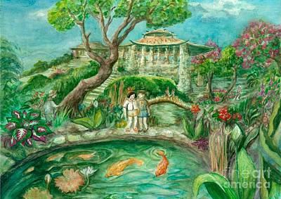 Japanese Tea Garden Painting - We're In Wonderland by Lynn Maverick Denzer