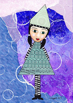 Mixed Media Collage Mixed Media - Whimsical Green Girl Mixed Media Collage by Karen Pappert