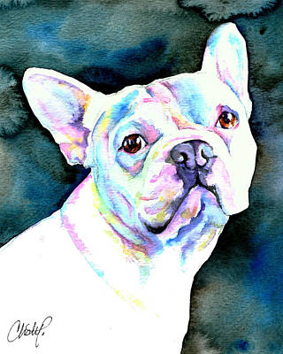 Puggle Painting - White French Bulldog by Christy  Freeman