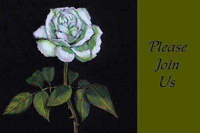Drawing - White Rose Invitation Card by Joyce Geleynse