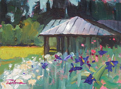 Painting - Wild Roses and Irises by Ron Wilson