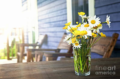 Wildflowers Bouquet At Cottage Art Print