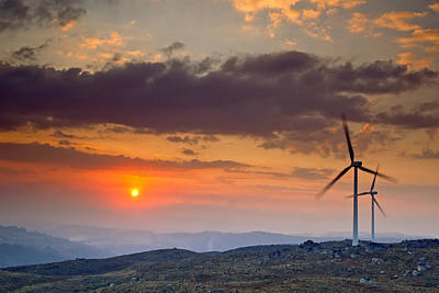 Wind Turbines At Sunset Art Print by Andre Goncalves