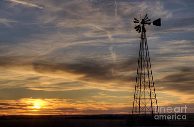 Windmill And Sunset Art Print