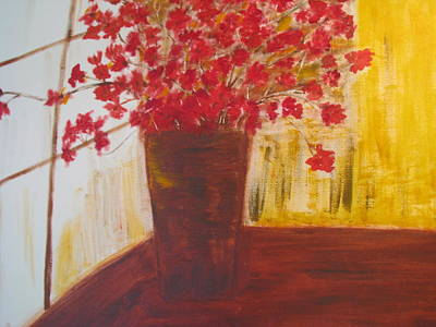 Art Print featuring the painting Window Flowers by Brindha Naveen