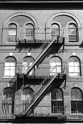 Windows And Fire Escapes Bangor Maine Architecture Art Print by John Van Decker