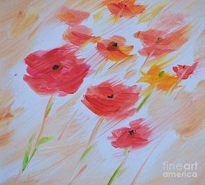 Windy Poppies No. 2 Art Print by Barbara Tibbets