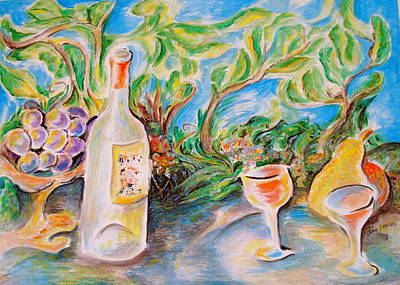 Wine Country Card Painting - Wine And Grapes by Joan Landry