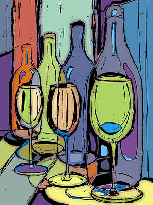 Wine-bottle Drawing - Wine Bottles And Glasses IIi by Peggy Wilson