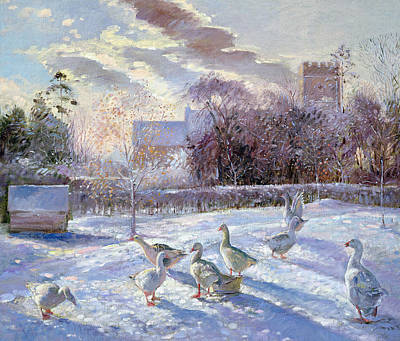 Winter Geese In Church Meadow Art Print by Timothy Easton