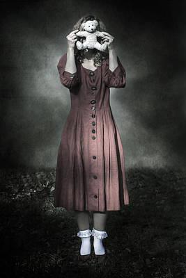 Hiding Photograph - Woman And Teddy by Joana Kruse