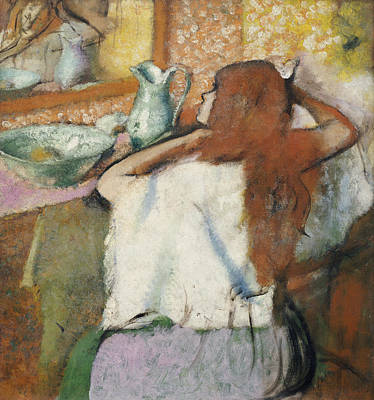 Basin Painting - Woman At Her Toilet by Edgar Degas