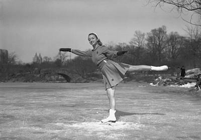 Memories Series Photograph - Woman Ice Skating Outdoors, (b&w) by George Marks