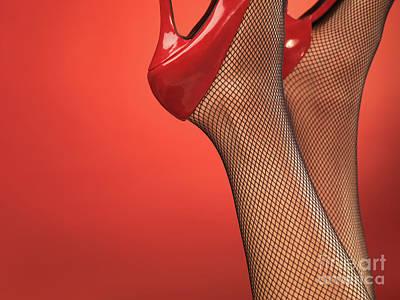 Woman In Red High Heel Shoes Art Print by Oleksiy Maksymenko