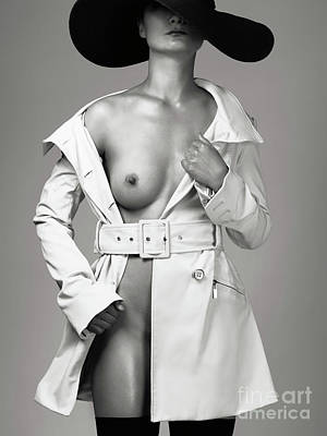 Woman Wearing Trench Coat Over Naked Body Art Print