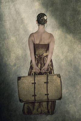 Woman With Suitcase Art Print