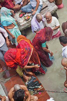 Ashram Wall Art - Photograph - Women At  Ganges by John Battaglino