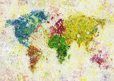 World Map Painting Art Print