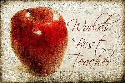 Andee Design Red Photograph - Worlds Best Teacher 1 by Andee Design