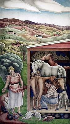 Realism Photograph - Wpa Mural. Society Freed Through by Everett