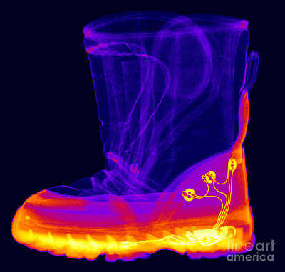 X-ray Of A Childs Light-up Boot Art Print by Ted Kinsman