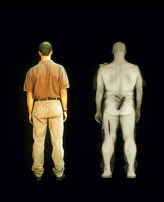 Terrorist Photograph - X-ray View Of Man During Bodysearch Surveillance by American Science & Engineering