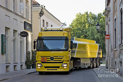 Black Commerce Photograph - Yellow And Black Fuel Truck by Jaak Nilson