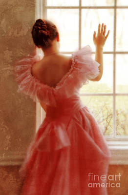 Anticipation Photograph - Young Woman In Pink Ruffled Dress by Jill Battaglia