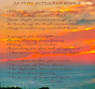 All Occasion Card Mixed Media - Your Loving Eyes 3 by Debra     Vatalaro