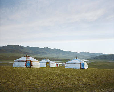 Yurts Photograph - Yurts On The Wide Grassy Plains Of Mongolia by Andrew Rowat