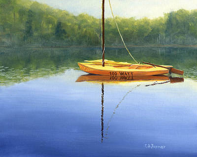 New Hampshire Artist Painting - 100 Watts Sailboat by Elaine Farmer